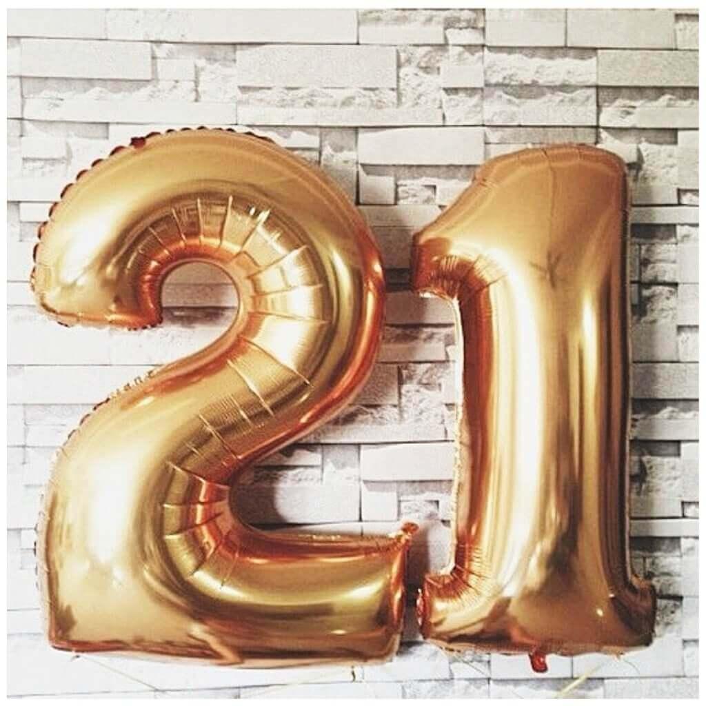 21 balloons golden number foil balloons