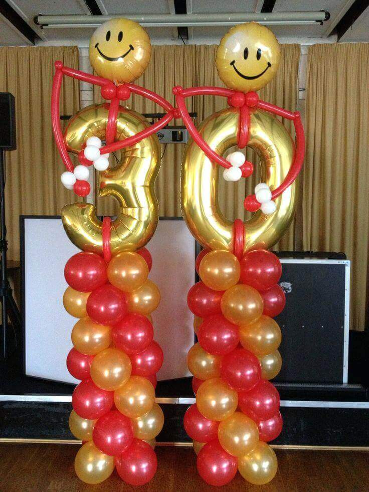 30th balloons column with red and gold latex balloons funny