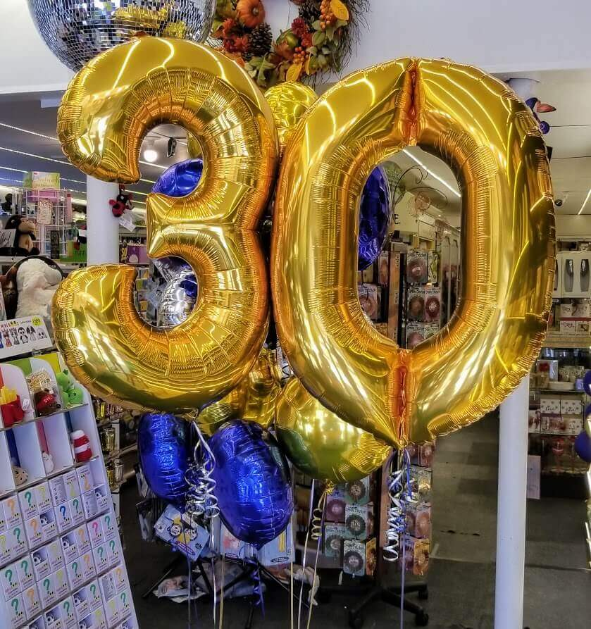 30th golden foil balloons with round mylar