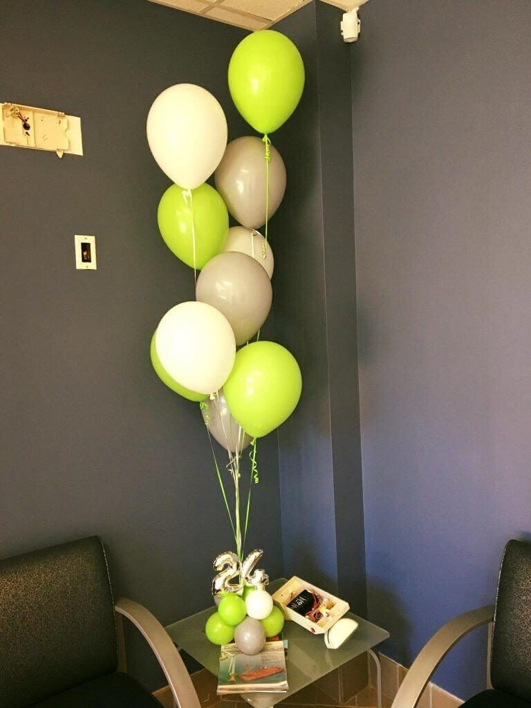 lime green gray and wight latex balloons with mini number 24th balloons