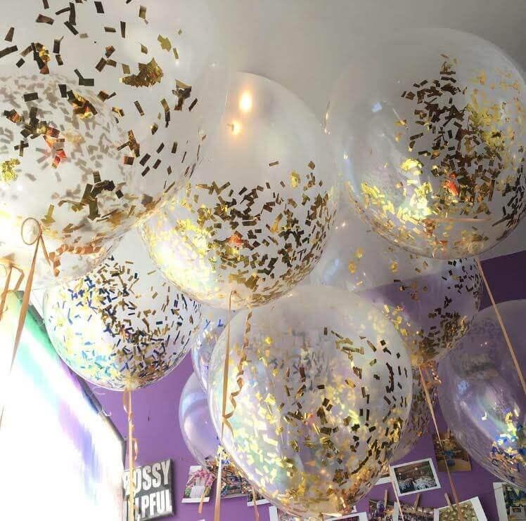 golden confetti loos balloons