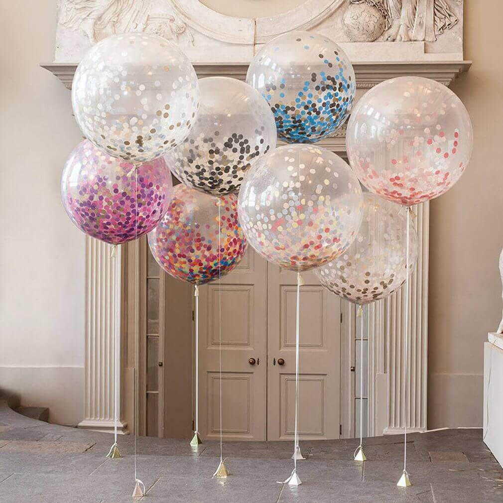 round clear balloons with blue black pink gold silver confetti