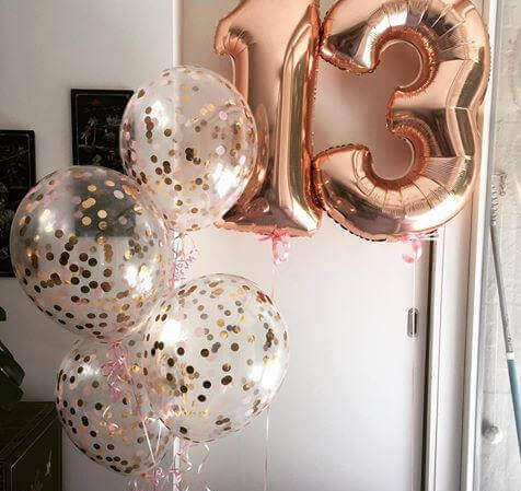 helium rose gold clear latex confetti balloons with 1and 3 rose gold jumbo Mylar bouquet