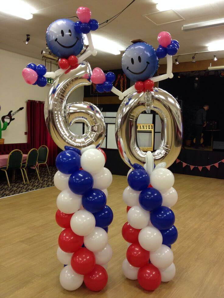 silver 60th column balloons with red white and blue spiral latex balloons