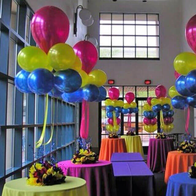 lime green blue and hot pink chrome balloons for birthday
