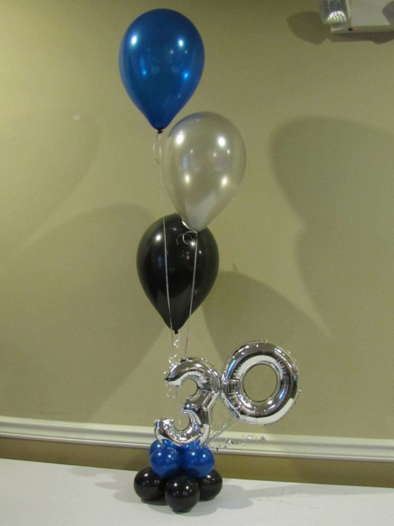 "mini silver 30th balloons with 12"" latex balloons"