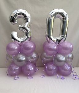 silver 30th balloons with lavender latex balloons