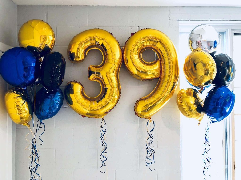 39 golden number balloons with round mylar balloons
