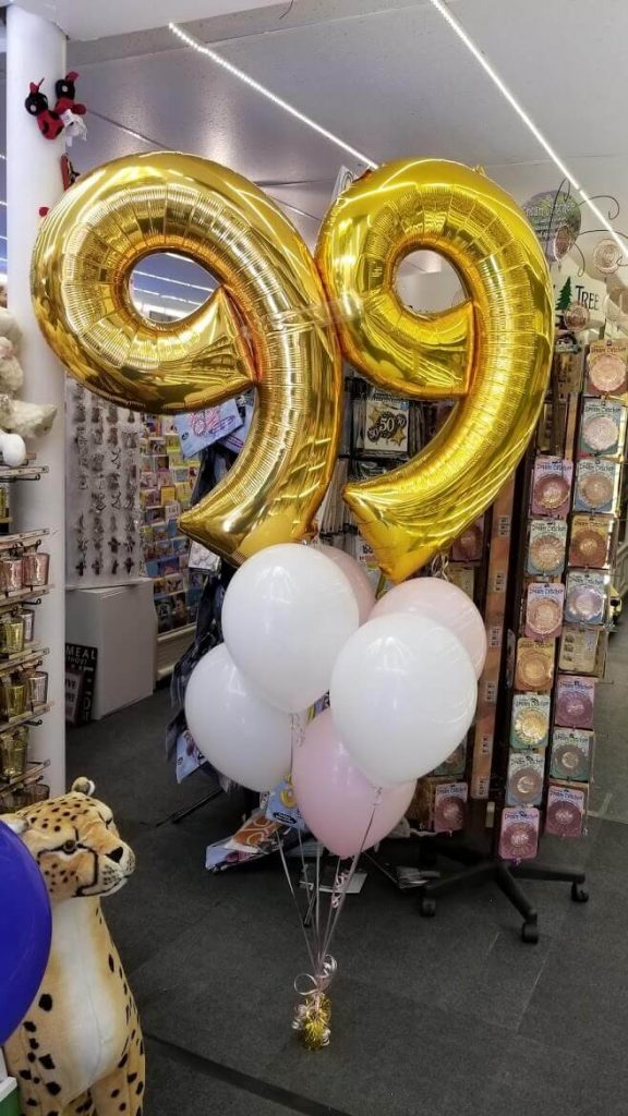 jumbo gold foil 99 balloons with pick helium latex balloons bouquet