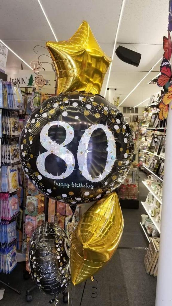 big round 5 mylar 80th balloons bouquet golden and black foil balloons with balloon weight