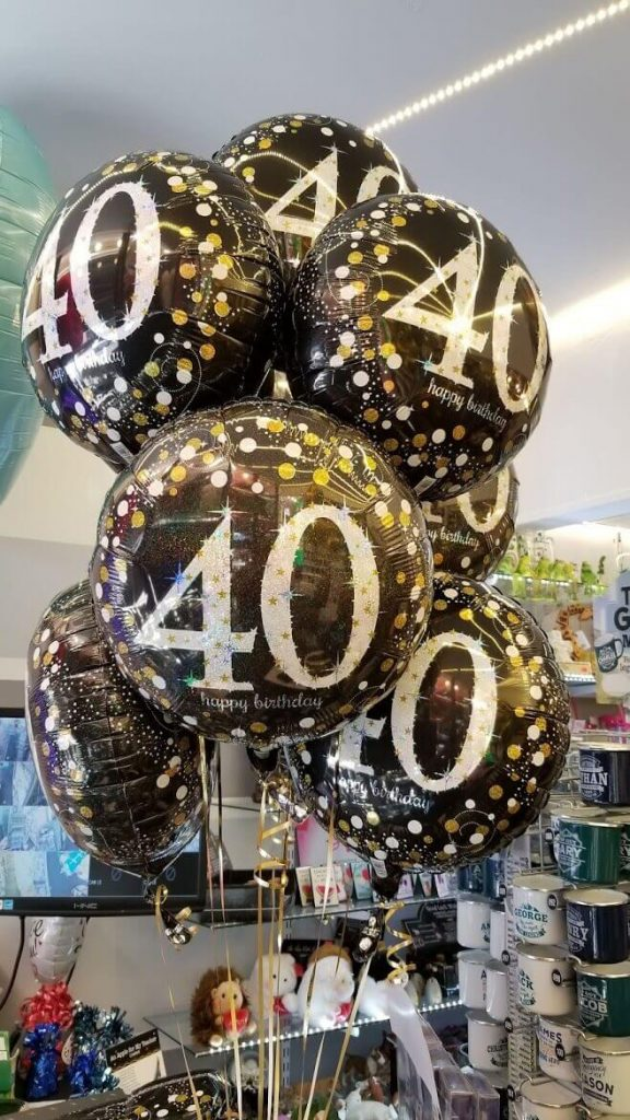 round 40th mylar foil helium balloons black silver and gold bouquet