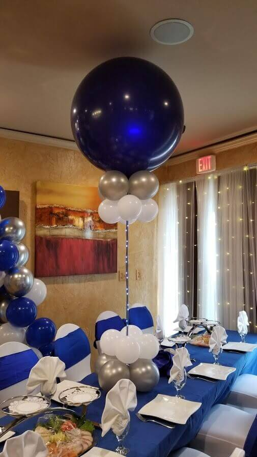 big LED balloons dark blue white and silver