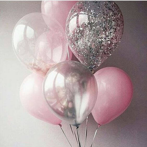 pink clear silver confetti balloons set