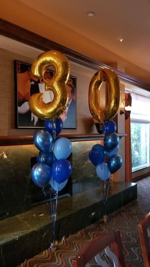 30 gold mylar balloons column centerpieces with multi-shade blue helium latex balloons