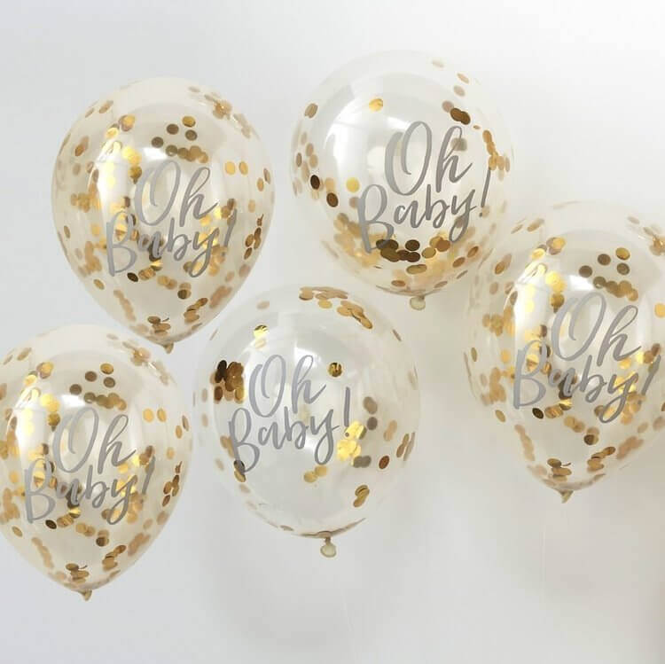 clear balloon with golden confetti personalize baby