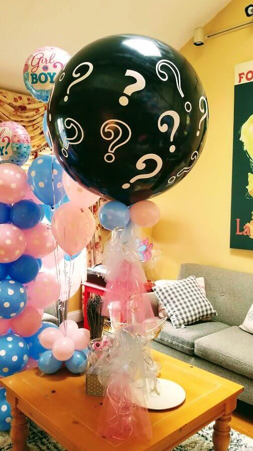 gender reveal black balloon jumbo with question marks