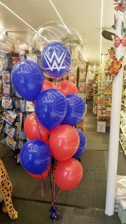 red and blue latex balloons bouquet with big clear insider balloon personalized