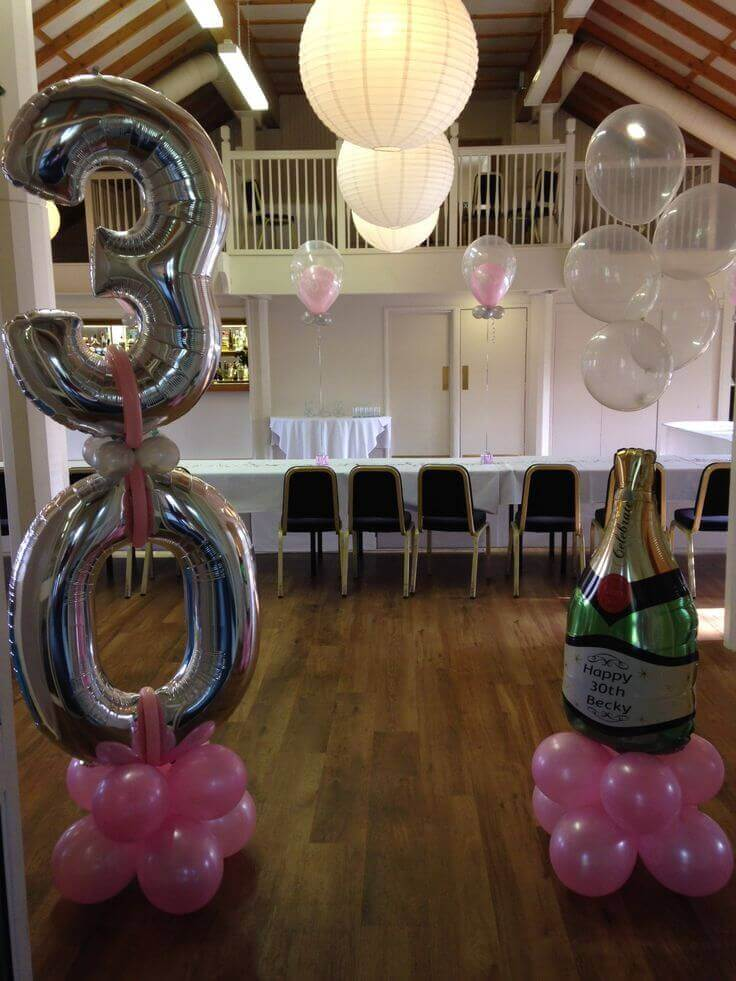 silver 30th balloons floor bouquet with pink latex