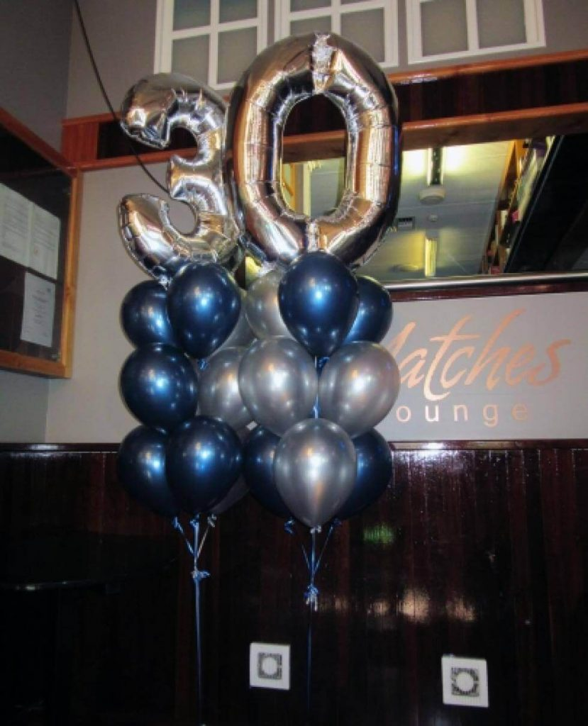 silver 30th big balloons with blue and silver latex balloons bouquet