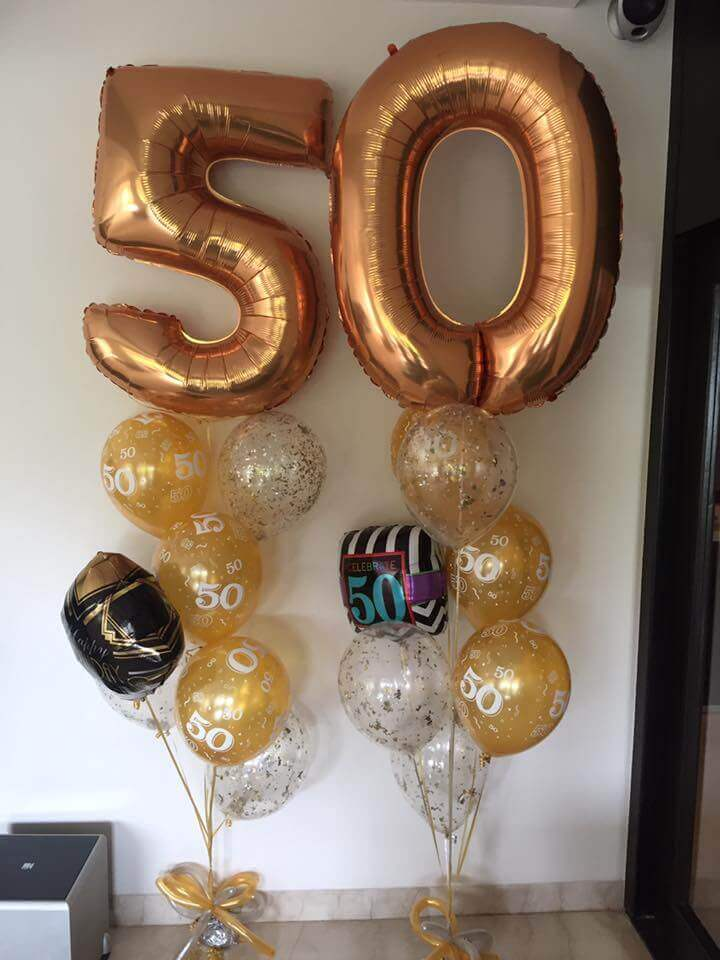 golden 50th big balloons with confetti and number latex balloons bouquet