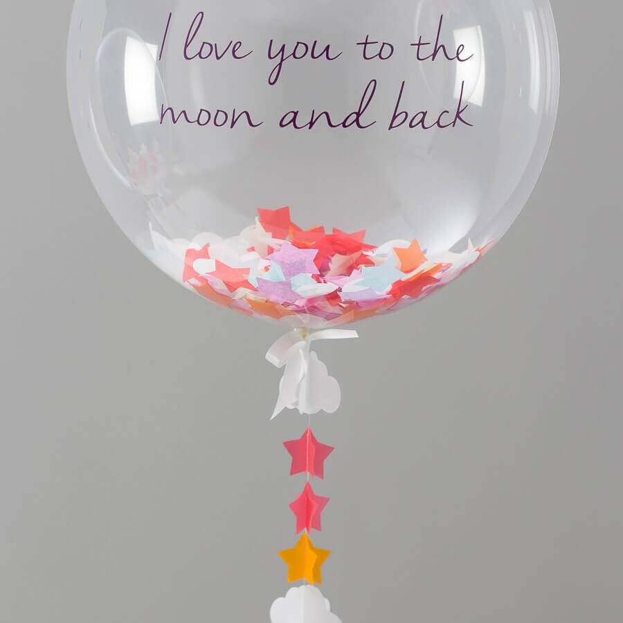 bright color round personalized balloon with paper confetti with love message
