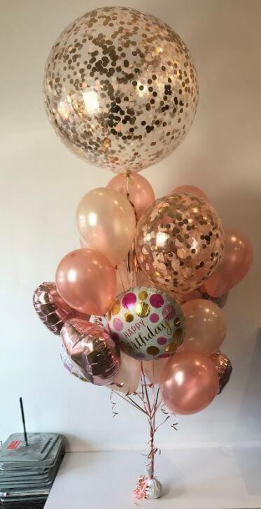 big confetti balloons bouquet with foil polka dot happy birthday balloons