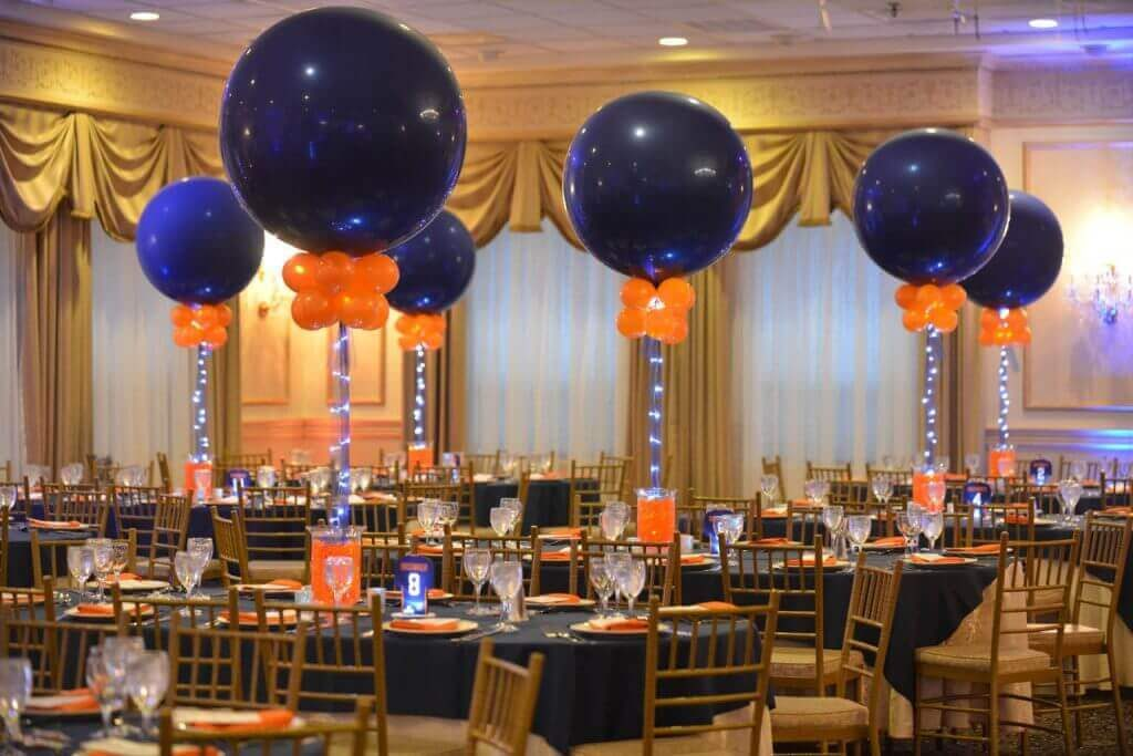 dark blue jumbo and mini orange led balloons for Bar Mitzvah party balloons
