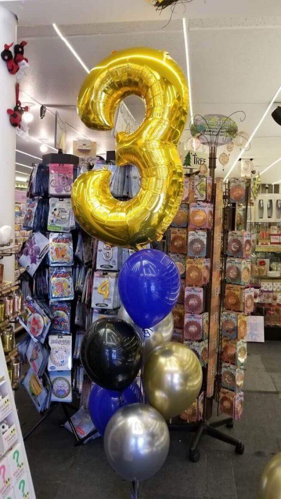 golden number 3 big balloons bouquet