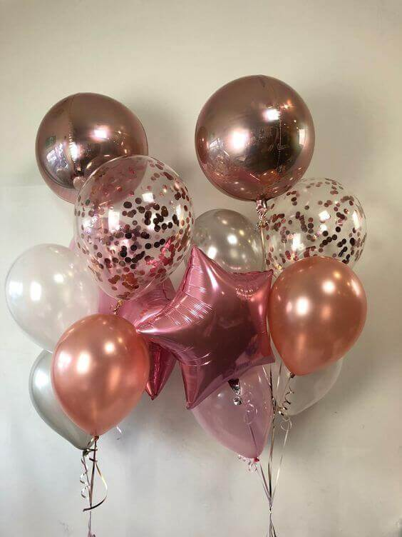 latex pink mylar confetti balloons bouquet