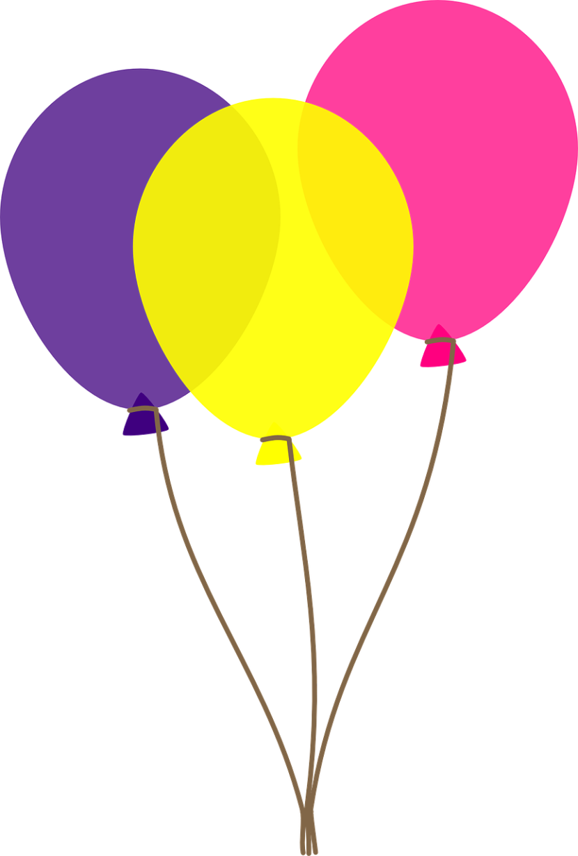 magenta yellow purple latex balloons on brown strings