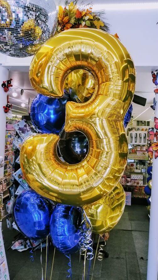 helium number 3 golden balloon with Mylar balloons