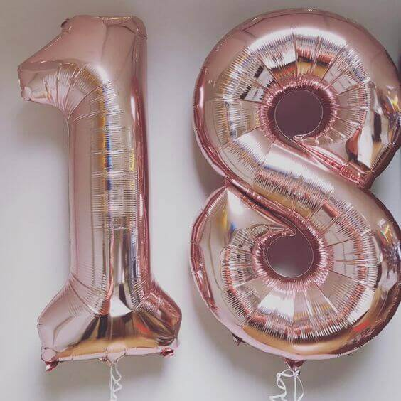 rose gold numbers 18 mylar foil big balloons