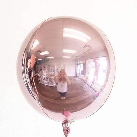 rose gold single round orbz balloon metallic