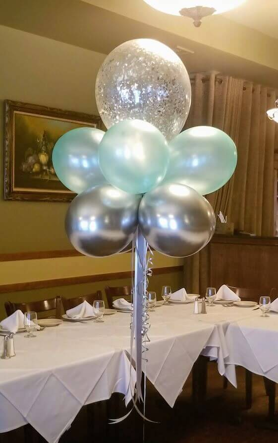 teal and silver confetti balloon floating helium balloons