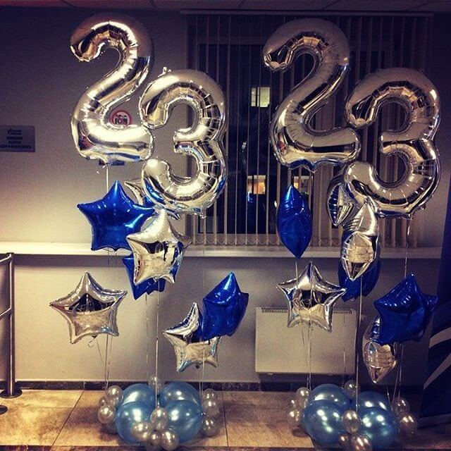 23rd birthday big silver number Mylar balloons with silver stars
