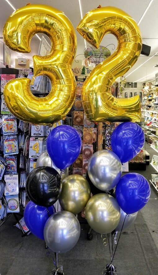 32nd birthday balloons gold blue and silver