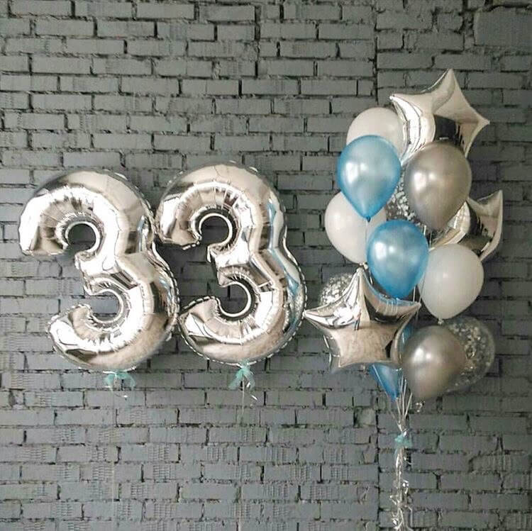 33rd birthday balloons Mylar and latex balloons centerpieces with confetti balloons
