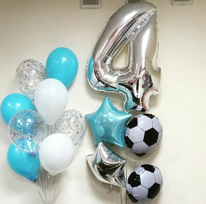 number 4 silver sports theme birthday balloons for boy