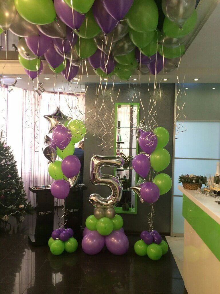 5th birthday or anniversary balloon with citrus green and lavender latex balloons
