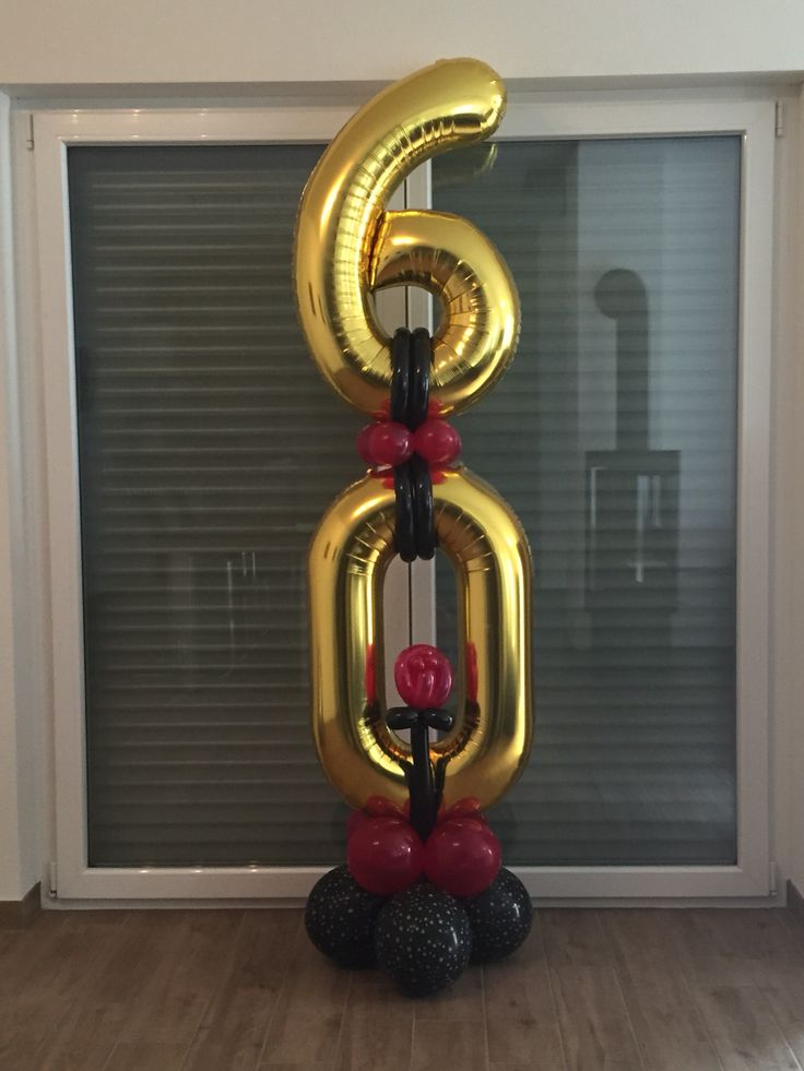 60th big gold number balloons for birthday or anniversary