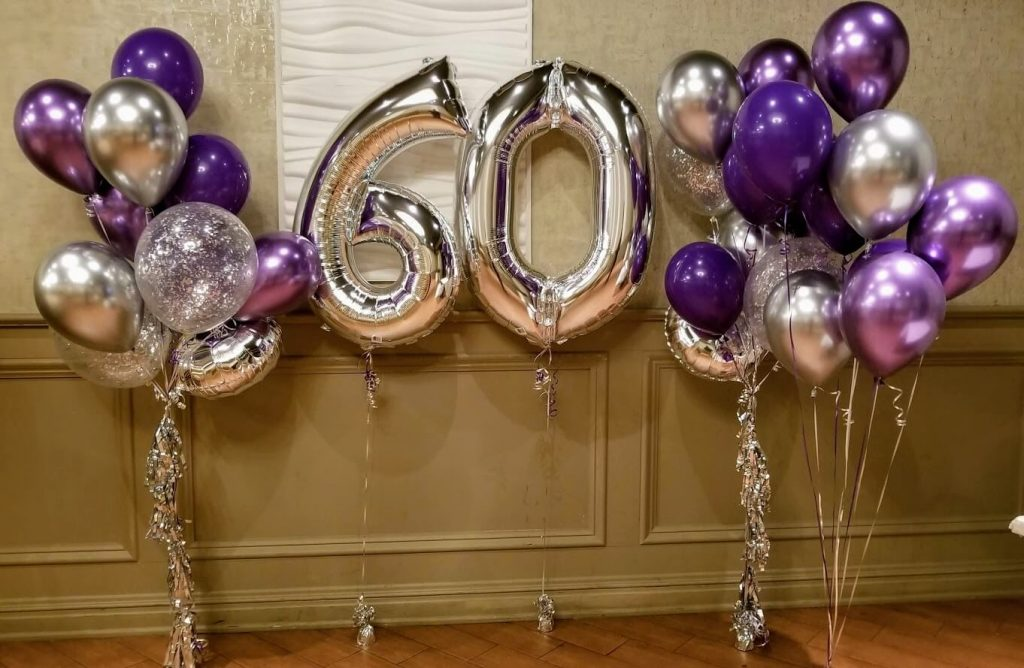 chrome silver chrome purple and silver confetti 60th birthday or anniversary balloons bouquet