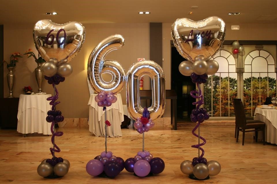 60th birthday silver number balloons with heart floor centerpieces