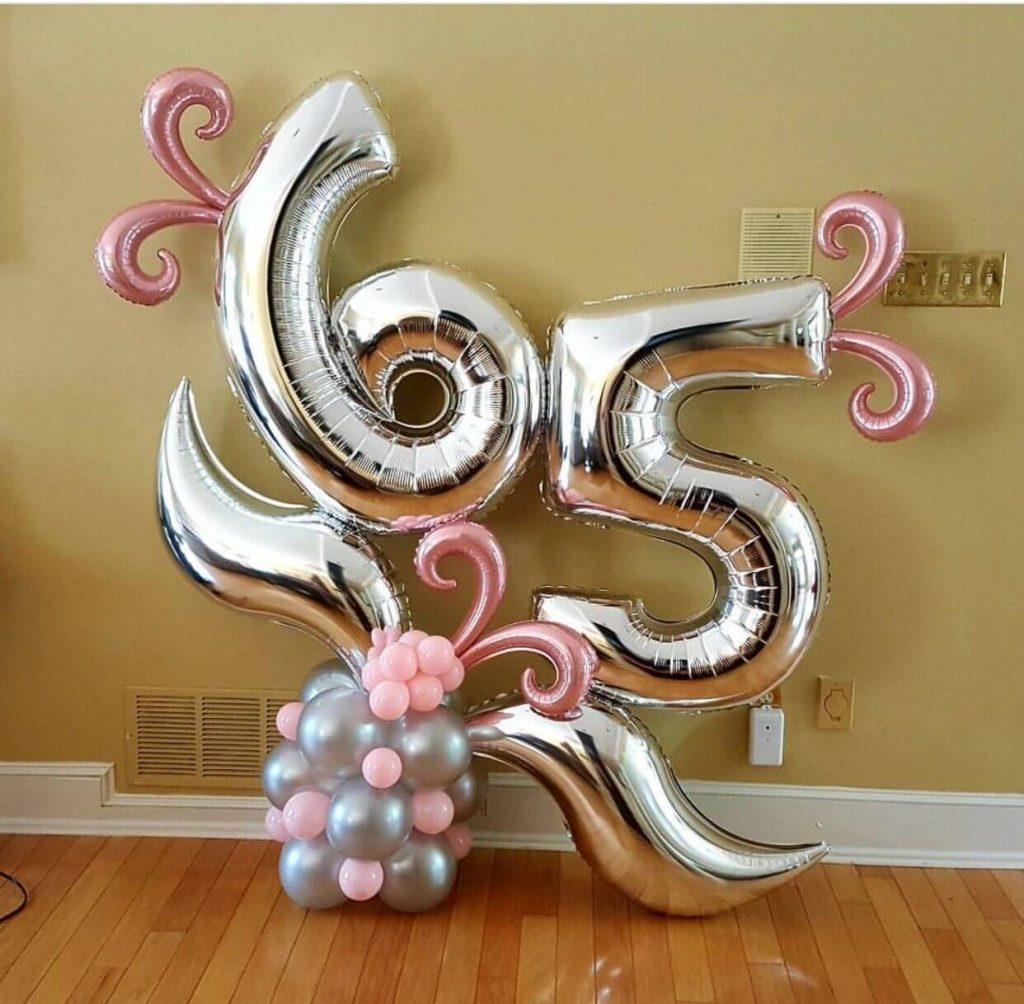 65th birthday foil Mylar silver balloons decoration