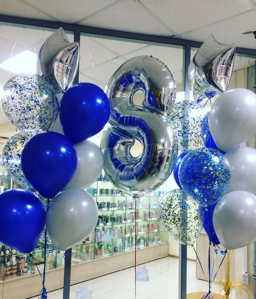 number 8 silver foil balloon with blue white and clear confetti balloons