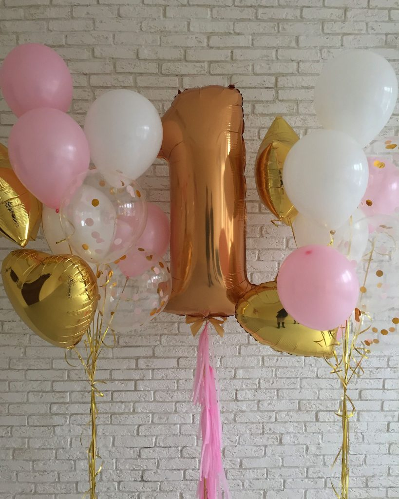Baby 1st Birthday Balloons Big Number One In Gold And Clear Confetti With White Pink Latex
