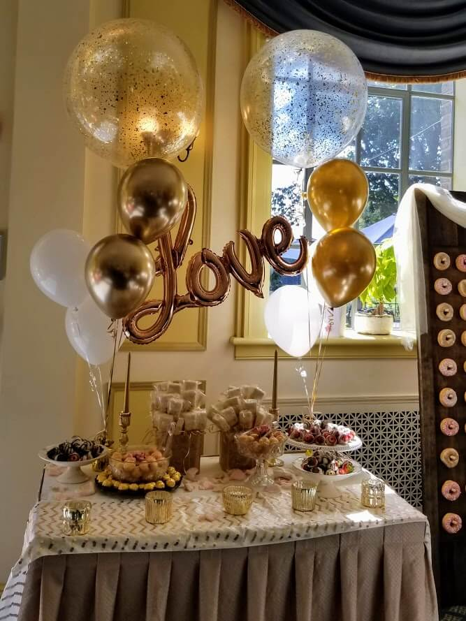 Bridal Shower Balloons Gold Chrome​ and ​White Latex​ with gold love phrase balloon​