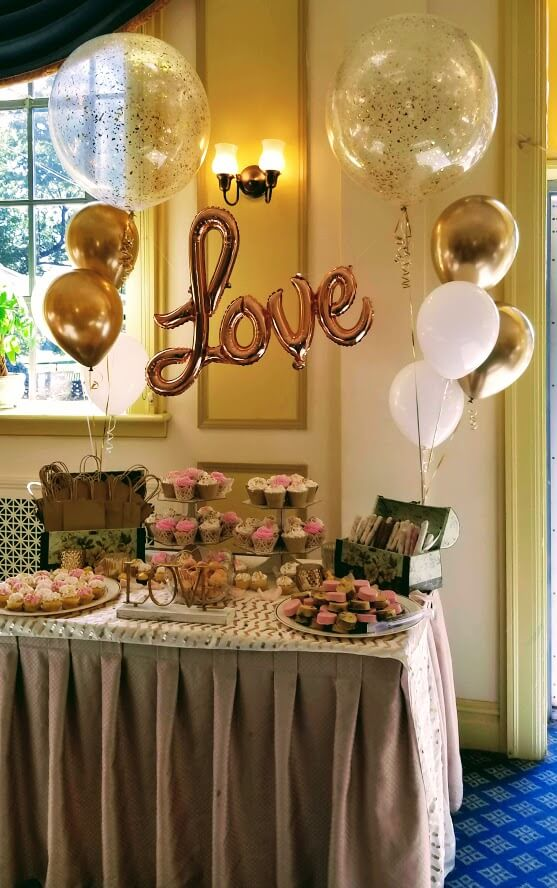 Golden love Balloons with gold chrome white latex, big round clear balloon gold confetti inside for a bridal shower