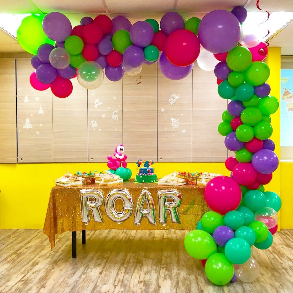 neon colors balloons garland half arch
