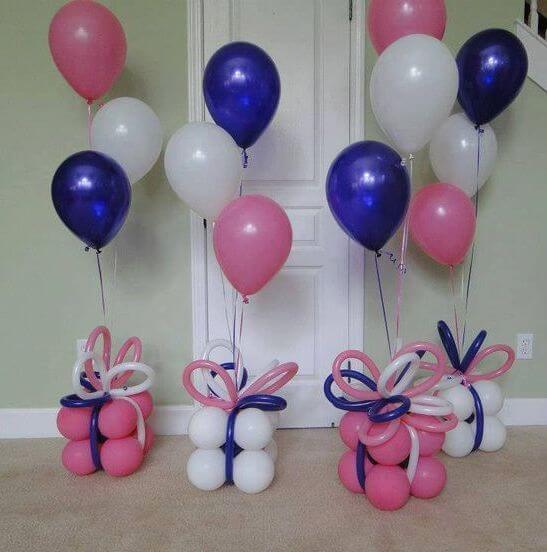 mini balloons gift box and bows with helium latex balloons centerpieces for birthday