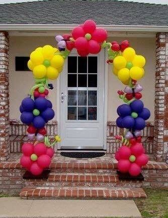 flower balloons arch for girl birthday party